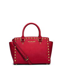 Selma Medium Studded Saffiano Leather Messenger - CHILI - 30T3GSMS2L
