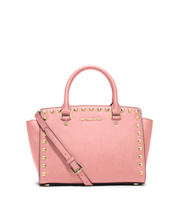 Selma Medium Studded Saffiano Leather Messenger - PALE PINK - 30T3GSMS2L