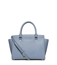 Selma Medium Saffiano Leather Satchel - PALE BLUE - 30T3SLMS2L
