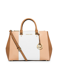 Sutton Large Color-Block Saffiano Leather Satchel - NUDE/WHITE/PEANUT - 30T4GJTS7L