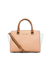 Selma Medium Color-Block Saffiano Leather Satchel - NUDE/WHITE/PEANUT - 30T4MLMS2T