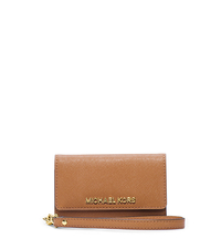 Saffiano Leather Phone Wristlet for iPhone 5 - PEANUT - 32F4GELL2L