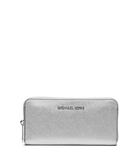 Jet Set Travel Metallic Leather Continental Wallet - SILVER - 32F4STVE3M