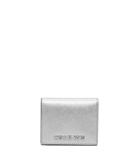 Jet Set Travel Metallic Saffiano Leather Card Holder - SILVER - 32F4STVF2M