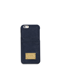 Saffiano Leather Pocket Smartphone Case - NAVY - 32H4GELL3L