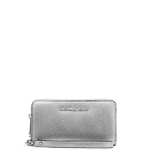 Jet Set Travel Large Metallic Leather Wristlet - SILVER - 32H4STVD1M