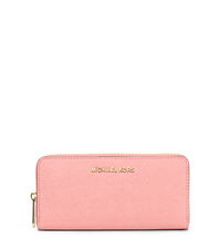 Jet Set Travel Saffiano Leather Continental Wallet - PALE PINK - 32S3GTVE3L