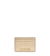 Jet Set Travel Metallic Saffiano Leather Card Case - PALE GOLD - 32S5MTVD1M