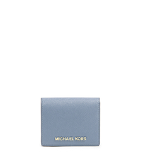 Jet Set Travel Saffiano Leather Card Holder - PALE BLUE - 32T4GTVF2L