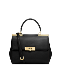 Marlow Medium Leather Satchel - BLACK - 30T5GAWS2L