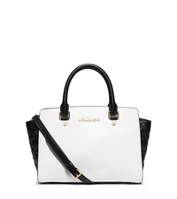 Selma Medium Color-Block Leather Satchel - OPTIC WHITE/BLK - 30T5GLQS2T