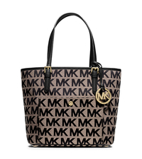 Jet Set Medium Logo Tote - BEIGE/BLACK/BLACK - 30T5GTTT6J
