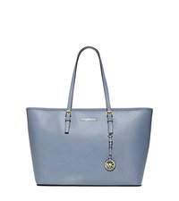Jet Set Travel Saffiano Leather Top-Zip Tote - PALE BLUE - 30T5GTVT2L
