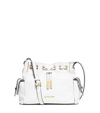 Marly Medium Drawstring Leather Messenger - OPTIC WHITE - 30T5GYMM2L