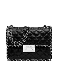 Carine Large Quilted Patent-Leather Shoulder Bag - BLACK - 30T5SCCL3A
