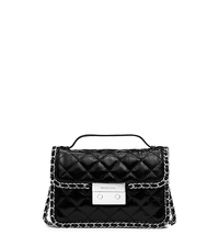 Carine Small Quilted Patent-Leather Messenger - BLACK - 30T5SCCM1A