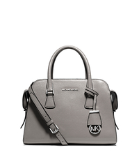 Harper Medium Leather Satchel - PEARL GREY - 30T5SRPS2L