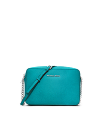 Jet Set Travel Large Saffiano Leather Crossbody - TURQUOISE - 32S4STVC3L