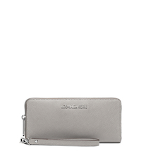 Jet Set Travel Saffiano Leather Continental Wallet - PEARL GREY - 32S5STVE9L