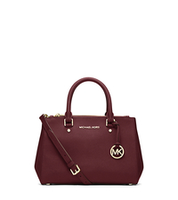 Sutton Small Saffiano Leather Satchel - MERLOT - 30F4GSUS5L