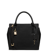 McKenna Medium Leather Satchel - BLACK - 30F5GEKS2L