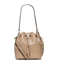 Greenwich Medium Saffiano Leather Bucket Bag - DARK KHAKI/ECRU - 30F5GGRM2U
