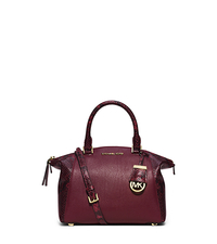 Riley Small Embossed-Trim Leather Satchel - MERLOT - 30F5GRLS5E