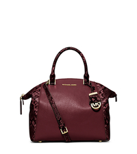 Riley Medium Embossed-Trim Leather Satchel - MERLOT - 30F5GRLS6E