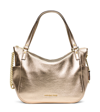 Chandler Large Metallic Leather Tote - PALE GOLD - 30F5MCUE3M