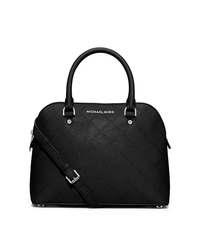 Cindy Medium Saffiano Leather Satchel - BLACK - 30F5SCPS2T