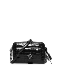 Emma Medium Embossed-Leather Messenger - BLACK - 30F5SENM2E