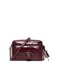 Emma Medium Embossed-Leather Messenger - MERLOT - 30F5SENM2E