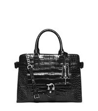 Emma Embossed-Leather Satchel - BLACK - 30F5SENS3E