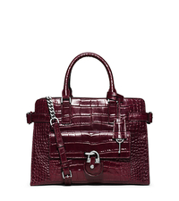 Emma Embossed-Leather Satchel - MERLOT - 30F5SENS3E