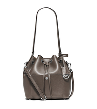 Greenwich Medium Saffiano Leather Bucket Bag - ELEPHANT/DARK TAUPE - 30F5SGRM2U