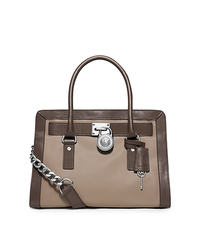 Hamilton Two-Tone Leather Satchel - DARK TAUPE/ELEPHANT - 30F5SHKS2T
