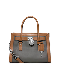 Hamilton Two-Tone Leather Satchel - STEEL GREY/ACORN - 30F5SHKS2T