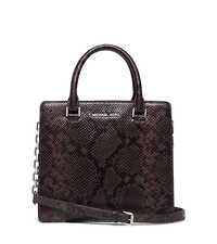 Brinkley Medium Embossed-Leather Satchel - CINDER - 30F5SKLS2E