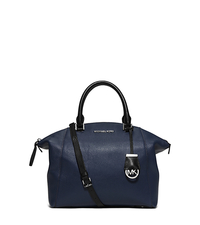 Riley Medium Two-Tone Leather Satchel - NAVY/BLACK - 30F5SRLS2T