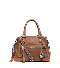Abby Medium Leather Satchel - WALNUT - 30F5SYBS2L