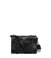 Collins Stud Medium Leather Messenger - BLACK - 30F5TCVM1L