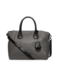 Campbell Large Leather Satchel - STEEL GREY - 30F5TEPS3L