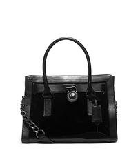 Hamilton Patent-Leather Satchel - BLACK - 30F5THKS2A