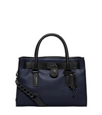 Hamilton Two-Tone Leather Satchel - NAVY - 30F5THVS2T