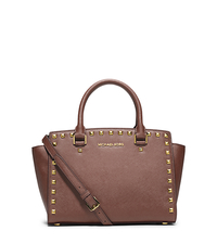 Selma Medium Studded Saffiano Leather Satchel - DUSTY ROSE - 30T3GSMS2L