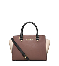 Selma Medium Color-Block Leather Satchel - DUSTY ROSE/ECRU/BLACK - 30T4MLMS2T