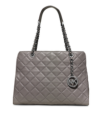 Susannah Large Quilted-Leather Tote - STEEL GREY - 30T5SAHT3L
