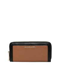 Jet Set Two-Tone Leather Wallet - LUGGAGE/BLACK - 32F5GJFZ1L