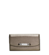 Emily Metallic Leather Wallet - GUNMETAL - 32F5MEIF3M