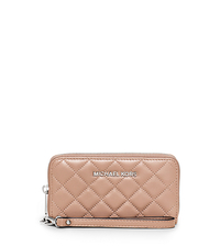 Susannah Large Quilted-Leather Phone Wristlet - BLUSH - 32F5SAHZ9L